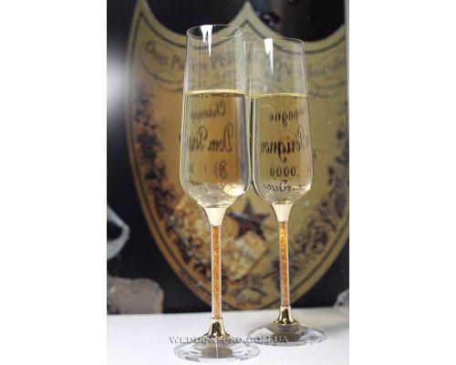 "Cвадебные бокалы для шампанского  ""Crystal Gold"" 270 ml"