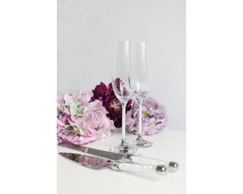 """Бокалы свадебные в камнях и приборы для торта """"Crystal""""  250 ml"""