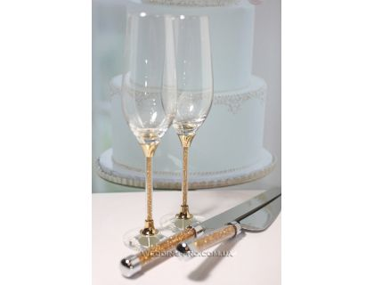 """Набор бокалов на свадьбу """"Crystal Gold Plus""""  и приборов для торта"""