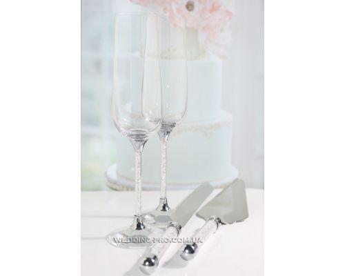 """Набор с бокалами и приборами для торта """"Crystal Plus""""  270 ml"""