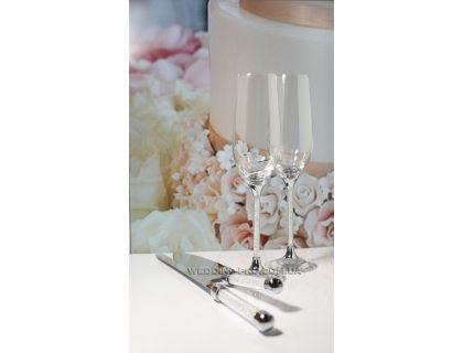 """Набор свадебных бокалов """"Crystal"""" 235 ml и приборов для торта"""
