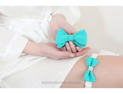 """Набор """"Стиляги"""" галстук-бабочка и подвязка на ножку цвета Tiffany"""