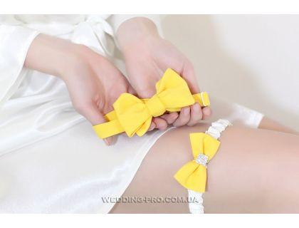 """Набор """"Стиляги"""" галстук-бабочка и подвязка на ножку желтого цвета"""