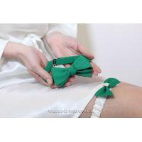 "Набор ""Стиляги"" галстук-бабочка и подвязка на ножку зеленого цвета"