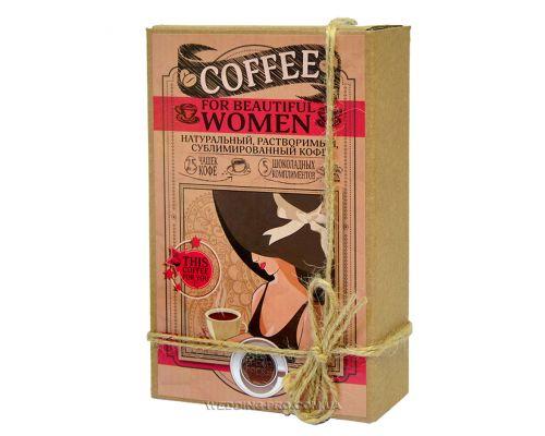 """Набор кофе с шоколадом """"FOR BEAUTIFUL WOMAN"""" 50гр кофе+5 плиток с комплиментами"""