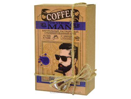 """Кофейный набор с шоколадом """"FOR STRONG MAN"""" 50гр кофе+5 плиток с комплиментами"""