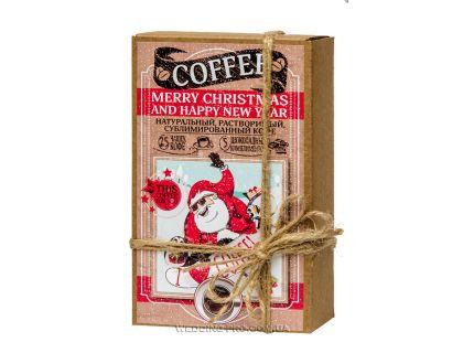 "Подарочный набор кофе ""Merry christmas and happy new year"" 50гр кофе+5 плиток с комплиментами"