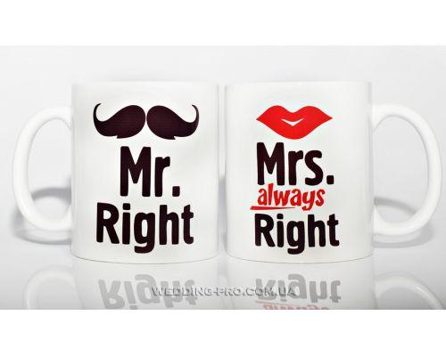 Набор оригинальных чашек Mr & Mrs