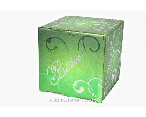 """Подарочная упаковка с надписью """"Вітаю"""", цвет-зелёный металик"""