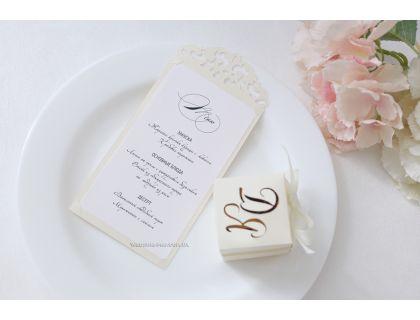 """Карточка меню на свадьбу """"Вензель"""""""