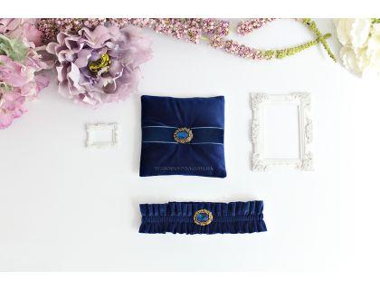 "Набор ""Винтаж-2"" подвязка и подушечка синего цвета"