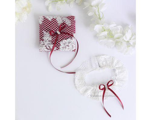 """Свадебный набор """"Мєрси"""" подвязка и подушечка"""