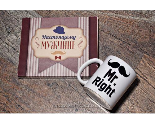 """Набор """"Настоящему мужчине 1"""" - шоколадный набор с милыми признания 100 г и чашка"""