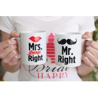 """Необычные парные чашки с надписью """"Mr & Mrs """""""