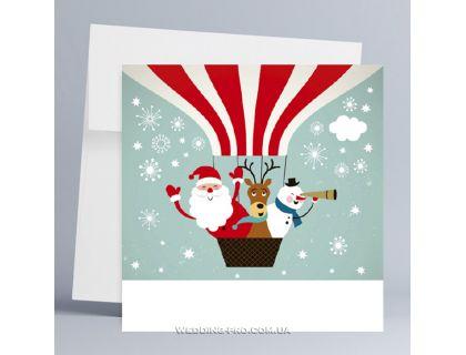 """Корпоративные новогодние открытки на заказ с печатью """"Санта"""""""