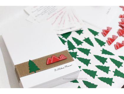 Корпоративные новогодние открытки с  ёлкой и 3Д логотипом