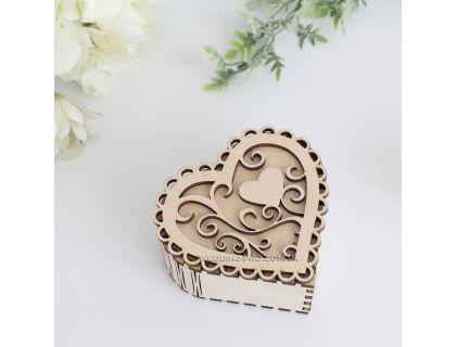 Коробочки для колец в виде сердца ажурные