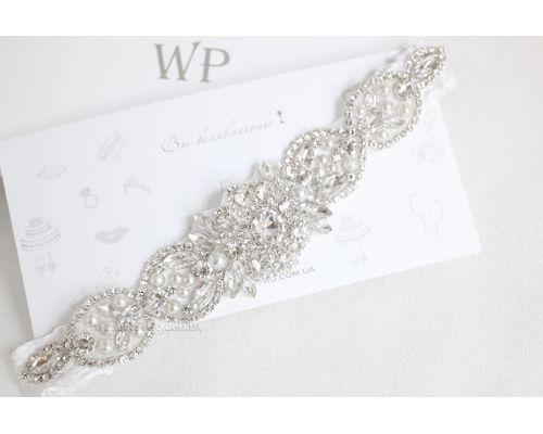 """Подвязка свадебная """"Джульетта"""" с пайетками и кристаллами DELUXE"""