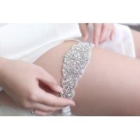 """Шикарная подвязка невесты """"Меган"""" с кристаллами DELUXE и жемчугом"""