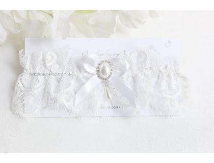 """Белая подвязка невесты """"Princess"""""""