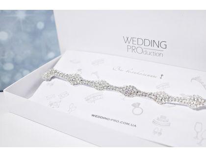 """Свадебная подвязка на ногу """"Диана"""" с кристаллами DELUXE"""