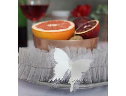 """Подвязка невесты дымчатая  """"Butterfly"""" с 3Д бабочкой и хрусталином"""