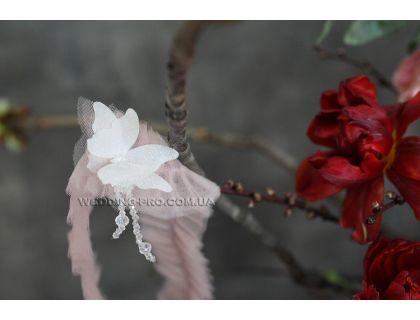 """Подвязка невесты ручной работы с бабочкой 3Д и нитями стекляруса """"Бабочка"""""""