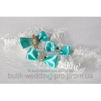 Подвязка с брошью в стразах в цвете тиффани