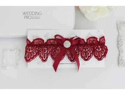 """Подвязка на ноге невесты в цвете марсала  """"Цветок"""""""