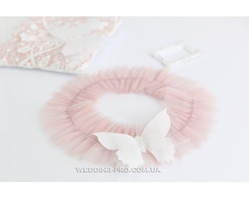 """Подвязка невесты """"Butterfly"""" с 3Д бабочкой пудровая"""