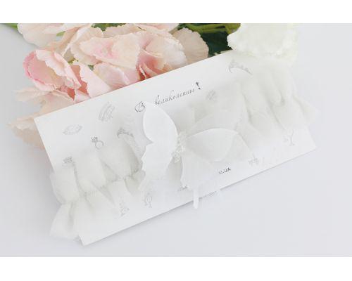 """Подвязка невесты молочного цвета """"Butterfly"""" с 3Д бабочкой"""