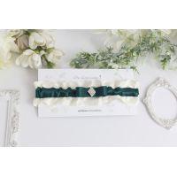 """Подвязка для невесты зеленая """"Нежность"""""""