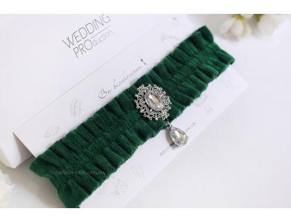 """Велюровая подвязка на ногу невесты """"Париж"""" зелёная"""
