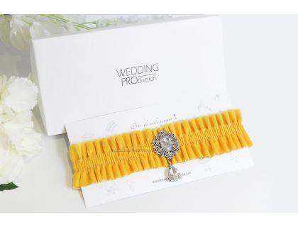 """Велюровая желтая подвязка невесты """"Париж"""""""