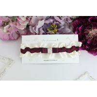 """Бордовая подвязка для невесты """"Нежность"""""""
