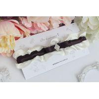 """Подвязка для невесты из узких лент коричневая """"Нежность"""""""