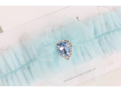 """Женская подвязка с голубой брошью """"Воздушная"""""""