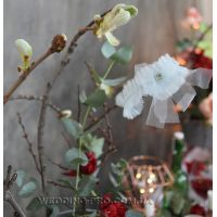 """Подвязка на ножку невесты цвета полыни с камнем """"Воздушная"""""""