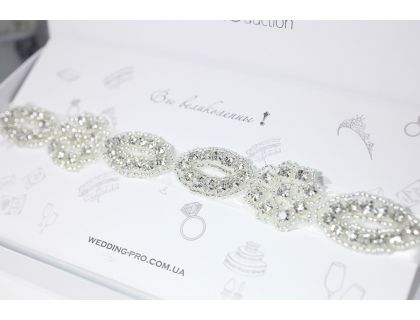 """Свадебная подвязка невесты """"Кэтрин"""" с кристаллами DELUXE"""