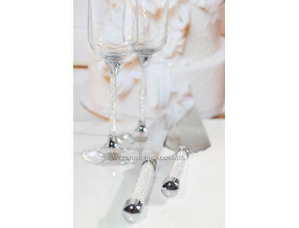 """Свадебные приборы для торта """"Crystal"""" фигурные"""