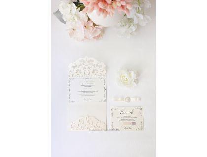 """Роскошные свадебные пригласительные """"Венеция"""" с бантиком и жемчужной брошью"""