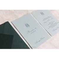 """Свадебные пригласительные открытки """"Ель"""" с изумрудным конвертом"""