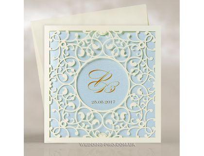 Ажурные свадебные пригласительные с голубыми акцентами