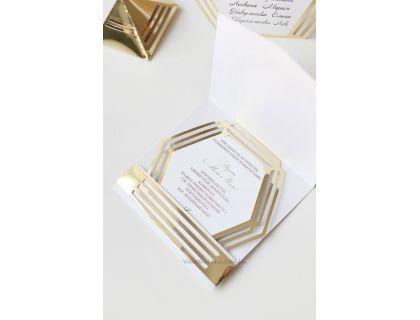 """Пригласительные в золотом цвете """"Геометрия"""" в конверте"""
