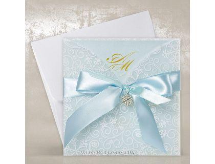 Голубые пригласительные с брошью Снежинка и бантом