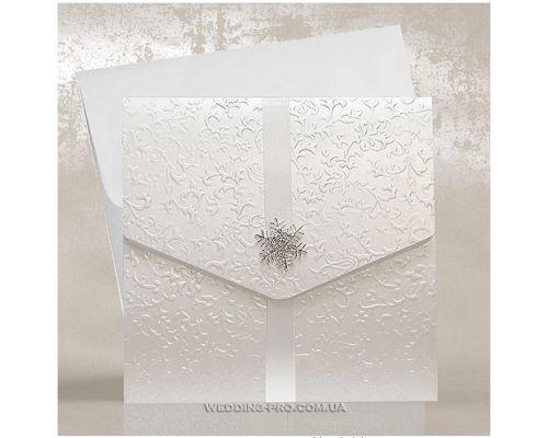 Роскошные свадебные пригласительные с брошью Снежинка и белой лентой