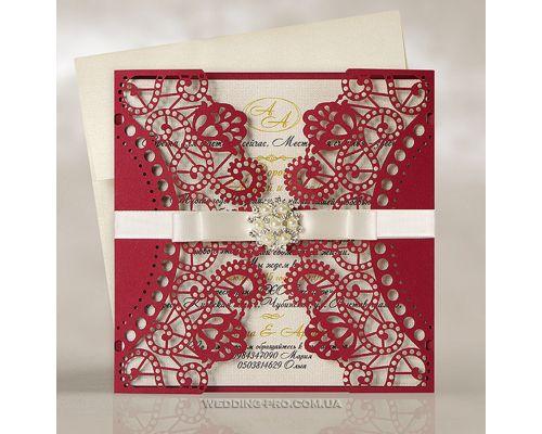 Ажурные свадебные пригласительные с брошью и бантом, цвет Марсала