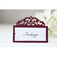 """Именные таблички на свадебный стол """"Вензель"""" марсала"""