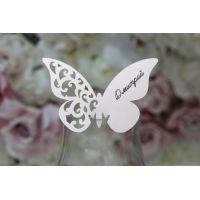"""Рассадка гостей на свадьбе карточки на бокал """"Бабочки"""""""