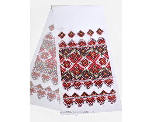 Традиционный украинский свадебный рушник с красно-зелёным орнаментом